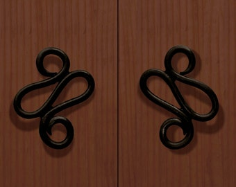 Delaforja (Pair) Scroll Cupboard/ Furniture Handles in Black Zinc by Nyree L Smith