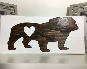 Bulldog Silhouette Wood Sign