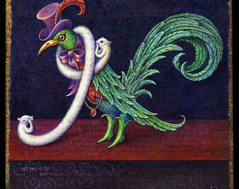Funny bird print, Nimiety: Exotic bird, dressed for excess in green boots, fur, top hat & bling. Fashion costume art, Alphabet Letter N