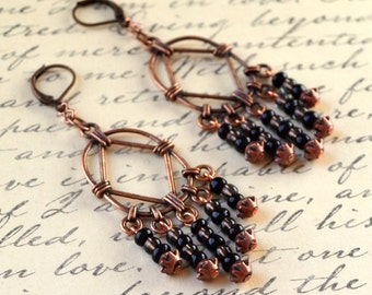Copper Chandelier Earrings Black Boho Long Dangle Bohemian Drop Beads Lever Back Chic Fashion Jewelry Jewellery Free Shipping PaisleyBeading