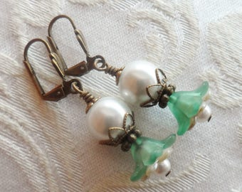 75% Off Clearance Sale, Double Blossom Flower Earrings made with Vintage Bead ,Green, White, Pearl, Antique Brass
