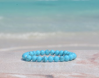 Dyed Turquoise Howlite Glossy 6mm Bracelet