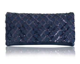 Navy sequin satin QUINN clutch purse evening bag, bridesmaid clutch, mother of the bride