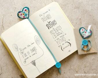 Handmade Bookmark with Blue Heart Felt | Flowers Collection