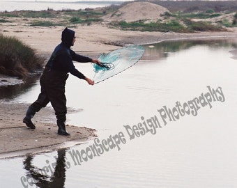 Man Casting Net Digital Image Download Stock Photography - Digital Licence Included