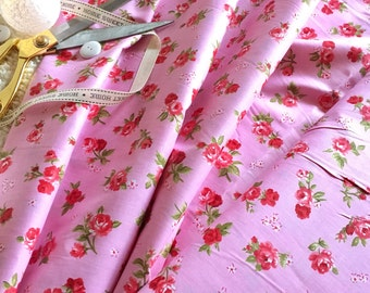 cotton fabric, floral fabric, pink rose fabric, rose fabric, pink fabric, 1930's reproduction fabric, quilt fabric