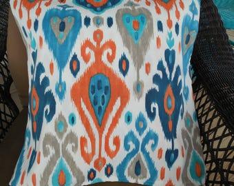 Modern Outdoor Pillow Cover Navy Blue Orange Ikat Patio Porch Decorative Throw Pillow Cushion Contemporary Outdoor Decor