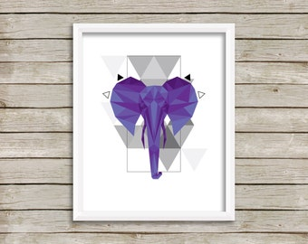 Geometric Elephant, Downloadable Print, Modern Art, Printable Art, Instant Download, Geometric.