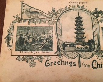 Greetings from China, c1900 post card, Chinese Pagoda,Chinese boys at dinner, Chinese carpenter sawing wood, Rare