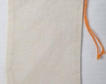 100 3x5 inch Cotton Muslin Red Hem and Orange Drawstring Bags