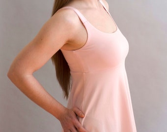 Candice Tank Top in Petal Pink with Organic Cotton Lace