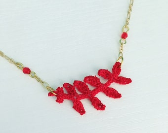 Garfield Park Crochet Necklace in Red, Fern Leaf, Branch Pendant, Floral, Chicago Fashion, Tiny Crochet, Botanic Garden, Mother's Day Gift
