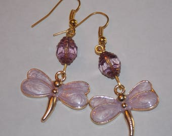Purple Gold Plated Dragonfly Purple and Gold Cathedral Bead Earrings