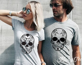 Halloween shirt skeleton shirt halloween couple shirt halloween  halloween skeleton shirt halloween skull shirt skull shirt halloween family