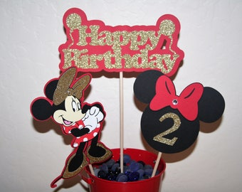 Minnie Mouse Centerpiece.  Gold & Red, Birthday Celebration. Party Decoration, Center Picks, Table Decoration, Partyware