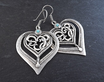 Folksy Heart Ethnic Silver Statement Earrings - Turquoise - Authentic Turkish Style