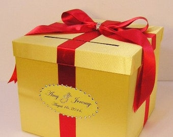 Wedding Card Box Red/Scarlet and Yellow Gift Card Box Money Box  Holder--Customize in your color/made to order (10x10x9)