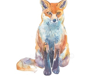 Fox 2, Animal Painting,Size 8x10inches, Watercolor Painting,Art Print