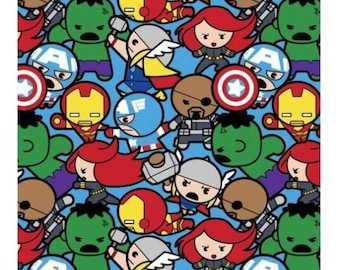 In Stock Marvel Fabric : Kawaii Marvel - Avengers Characters All In The Pack 16004  100% cotton Fabric by the yard  (SC574)