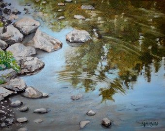 Original painting Reflections III oil painting 12 X16 inches stretched canvas