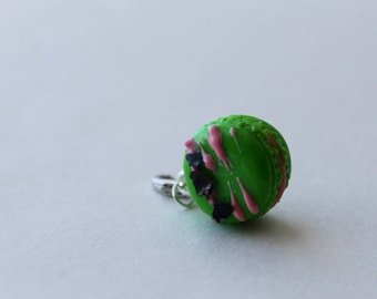 Bright Watermelon Macaroon Charm with Pink Drizzle and Chocolate Shavings/ Sweet Treat Bracelet Charm/ Fake Dessert/ Miniature Polymer Clay
