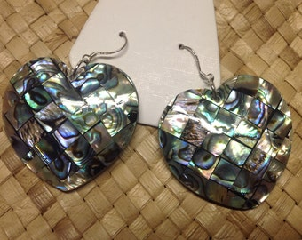 Inlay Abalone Shells On Mother Of Pearl Shells Earrings...Medium Inlay Abalone Shell Earrings.