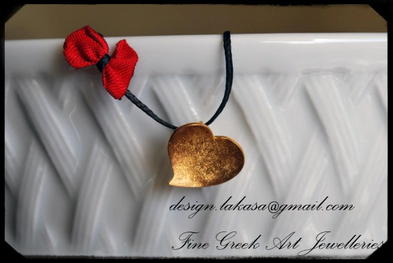 Necklace Heart Sterling Silver Gold plated Handmade Jewelry Fine Greek Art Woman Girl Birthday Best ideas Gift for her Mother Day Love Mommy
