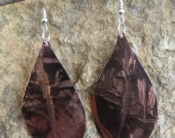 Copper Leaves on Sterling Silver Ear wires