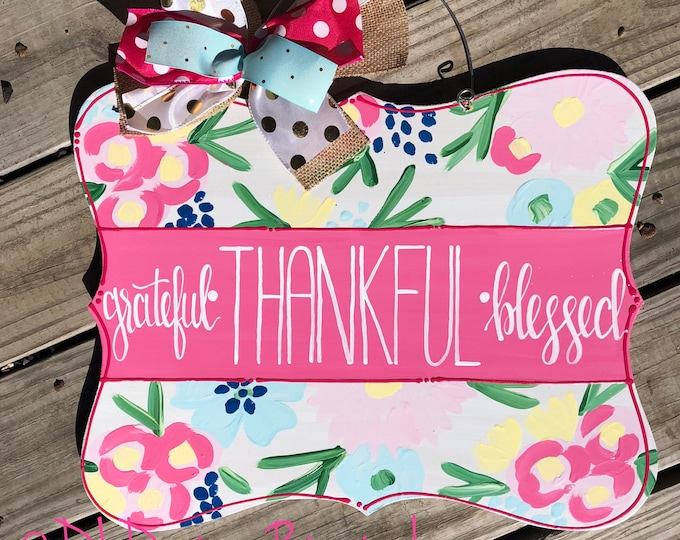 Spring floral door hanger with hand lettering grateful thankful blessed