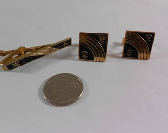 Vintage Gold Toned Mid Century Modern Black Cuff Links Tie Clip Set Jacob M Oldak