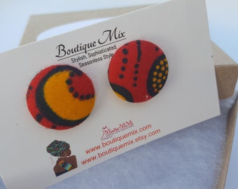Red earrings, Red button earrings, Red fabric earrings, Fabric button earrings, Button earrings, Fabric earrings, Red fabric earrings, Gifts