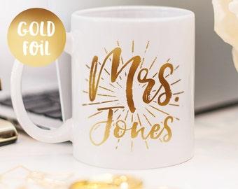 Mrs mug, gold foil mug customized gift for her