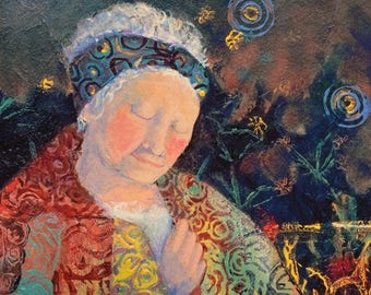 Print- Quilted Woman, At Peace