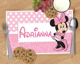 Minnie Mouse Kids Personalized Placemat, Customized Placemats for kids, Kids Placemat, Personalized Kids Gift