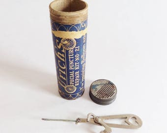 Vintage Bicycle Repair Kit for Balloon and Single Tube Tires - Advertising 1919 - Bike Tool and Container - Urich Company from Milwaukee