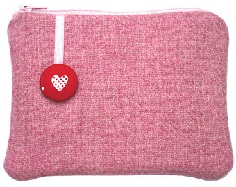 Harris Tweed Pink Purse, Love Purse, Gifts for Girlfriends, Red, Pink, Purse, Wool Purse, Valentine, Romantic Gift For Her, Valentine Gift