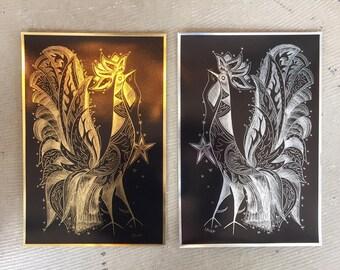 Sascha Brastoff Pheasant Peafowl Hen Bird Gold & Silver Foil Prints