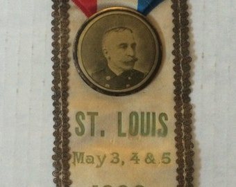 Antique Victorian Campaign Ribbon with Photograph on Sil Ribbon, Gold Trim, Gold Coiled Fringe