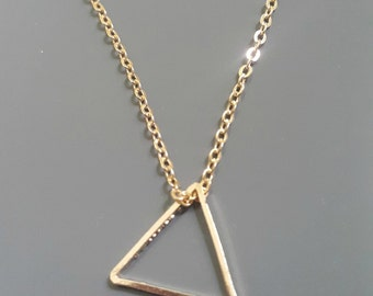 Tiny Triangle charm gold necklace, delicate jewelry, geometric design