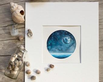 "Aries Ocean 4.5""x4.5"" ORIGINAL painting matted for 8x10 framing"