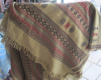 Indian Wool Shawl, Gujarat Handwoven Stole, Warm Embroidered Wrap, Indian Table Runner, Winter Scarf, Tan Shawl