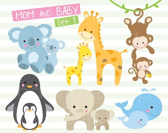 Baby Animal Clipart Family Animal Clipart Baby Animal and Mom Clip Art Mom and Kid Animal Clipart Mother's Day Animal Clipart