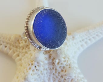 Sea Glass Jewelry Sea Glass Ring Cobalt Blue Sea Glass Ring Gift for Her Cobalt Blue Beach Glass Ring Size 7.25 - R-157 Mothers Day Sale