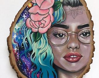 Cosmic Girl - Colored Pencil on Wood Slab - Tattoo Art - Galaxy - Blue Hair Drawing