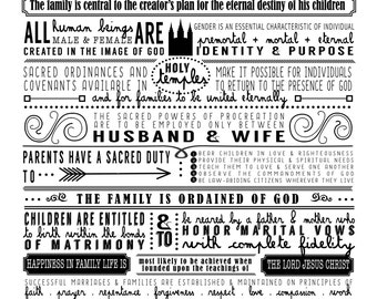 The Proclamation to the Family { Excerpts from } INSTANT PRINTABLE DOWNLOAD Multiple color options!!
