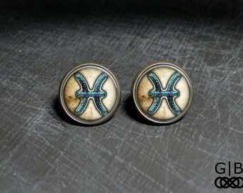 Pisces Astrology Studs Earrings - Pisces Jewelry Astrology Studs - Pisces Earrings Studs - Pisces Birthday Studs Earrings Pisces Studs