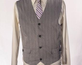 Men's Suit Vest / Vintage Grey Pinstripe Waistcoat / Size 39 / Medium #2010