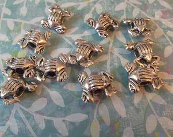 Frog Beads, Antique Silver, 10 pcs. no. frgas
