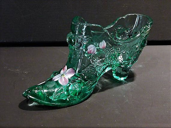 Fenton Glass Shoe / Green / Cabbage Rose / Hand Painted Flowers