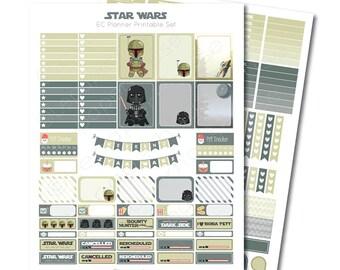 Erin Condren Star Wars - Dark Side Edition - Printable Planner Sticker Set, Erin Condren Life Planner, Instant Download